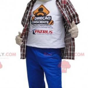 Mascot man in pants and blue cap - Redbrokoly.com