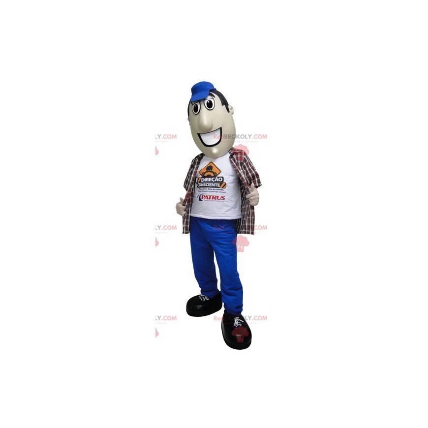 Maskot muž v kalhotách a modré čepici - Redbrokoly.com