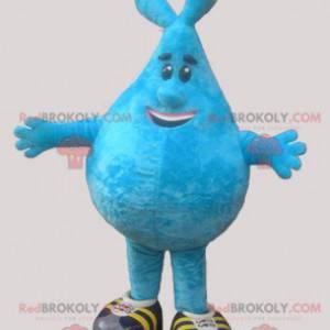 Blue snowman mascot in the shape of a drop - Redbrokoly.com