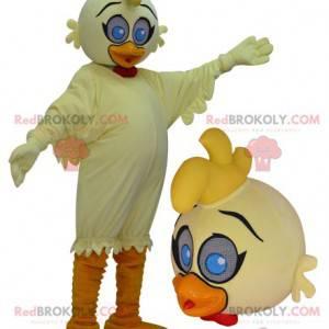 Obří žluté a oranžové maskot kachna s modrýma očima -