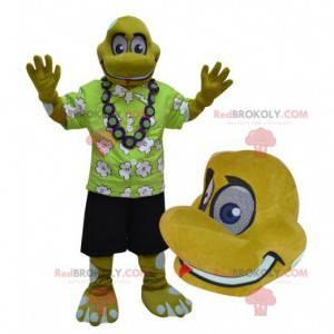 Žlutý plaz želva maskot v rekreant oblečení - Redbrokoly.com