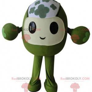 Celý zelený květovaný a vtipný maskot sněhuláka - Redbrokoly.com