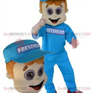 Maskottchen junger Mann in blau mit einer Kappe gekleidet -