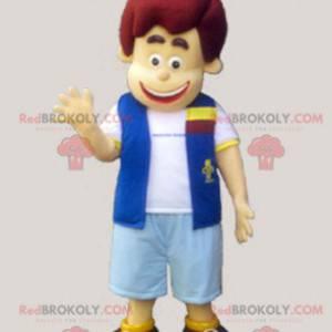 Chłopiec maskotka ubrany w kamizelkę i szorty - Redbrokoly.com