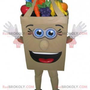 Maskottchen Papiertüte gefüllt mit Obst und Gemüse -