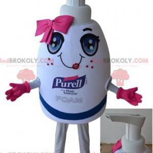 Gigantisk hvit og rosa såpeflaske maskot - Redbrokoly.com