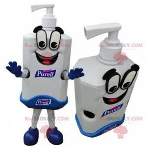 Gigantyczna biało-niebieska maskotka butelka mydła -
