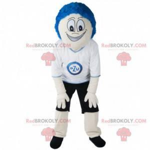 Snowman mascot with blue hair and sportswear - Redbrokoly.com