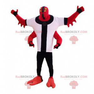 Red monster creature mascot with four arms - Redbrokoly.com