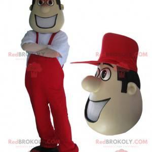 Maskot muž v červených kombinézách a čepici. - Redbrokoly.com