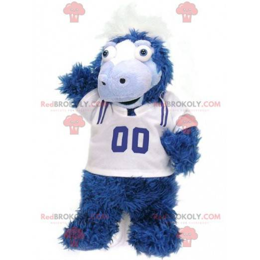 All hairy blue and white horse foal mascot - Redbrokoly.com