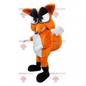 Maskot obří oranžová a bílá liška s velkým ocasem -