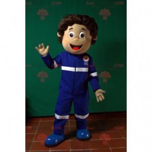 Första hjälpen paramediker maskot klädd i blå uniform -