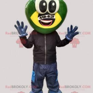 Futuristické žába maskot zelené a žluté stvoření -