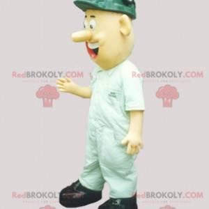 Maskottchenmann als Arbeiter mit einem Bauhelm verkleidet -
