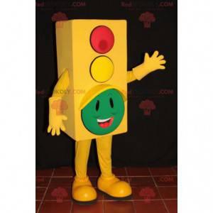 Žlutý semafor maskot s hlavou v zelené - Redbrokoly.com