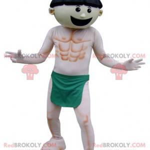 Mascot man wearing only a green loincloth - Redbrokoly.com