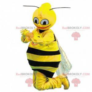 Sehr realistisches schwarz-gelbes Bienenmaskottchen -