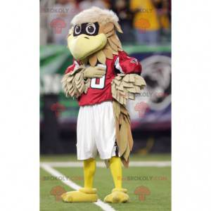 Brown and beige bird mascot in red outfit - Redbrokoly.com