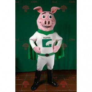 Maskot prasete v zelené a bílé superhrdiny oblečení -