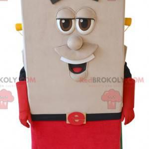 Square snowman mascot with a cape and a helmet - Redbrokoly.com