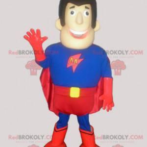 Superheldenmann-Maskottchen in Blau und Rot - Redbrokoly.com