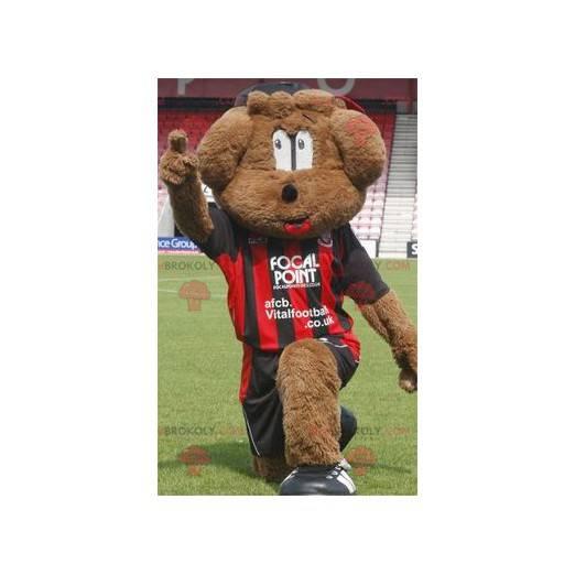 Braunes Hundemaskottchen in Sportbekleidung - Redbrokoly.com