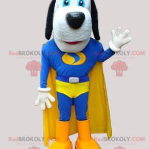 Cute dog mascot in blue and yellow superhero - Redbrokoly.com