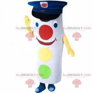 Bílý a barevný maskot semaforu s kepi - Redbrokoly.com