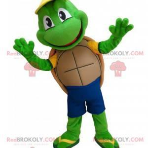 Nettes und lustiges Maskottchen der grünen Schildkröte -