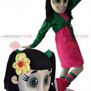 Maskottchen Brünette Teenager-Mädchen mit grünen Augen -