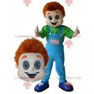 Red-haired boy mascot with blue overalls - Redbrokoly.com
