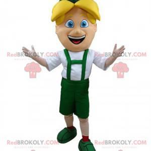 Maskot blonďák v zeleném tyrolském oblečení - Redbrokoly.com