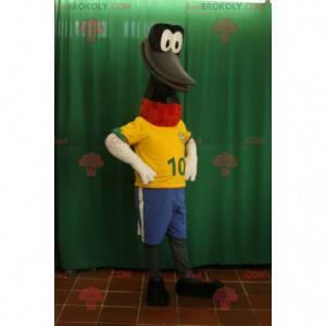 Černý pták maskot s dlouhým krkem a velkým zobákem -