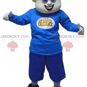 Maskot blonďatý sněhulák s ušima oblečený v modré barvě -