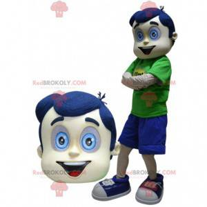 Chlapec maskot s vlasy a modrýma očima - Redbrokoly.com