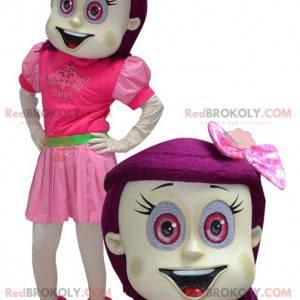 Mädchenmaskottchen mit rosa Haaren und Augen - Redbrokoly.com