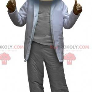Vědec maskot muž oblečený v šedé a bílé - Redbrokoly.com