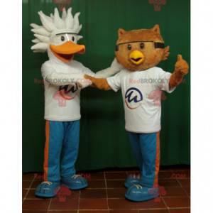 2 mascotes, um pássaro pelicano e uma coruja - Redbrokoly.com