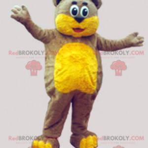 Měkký hnědý a žlutý medvídek maskot - Redbrokoly.com