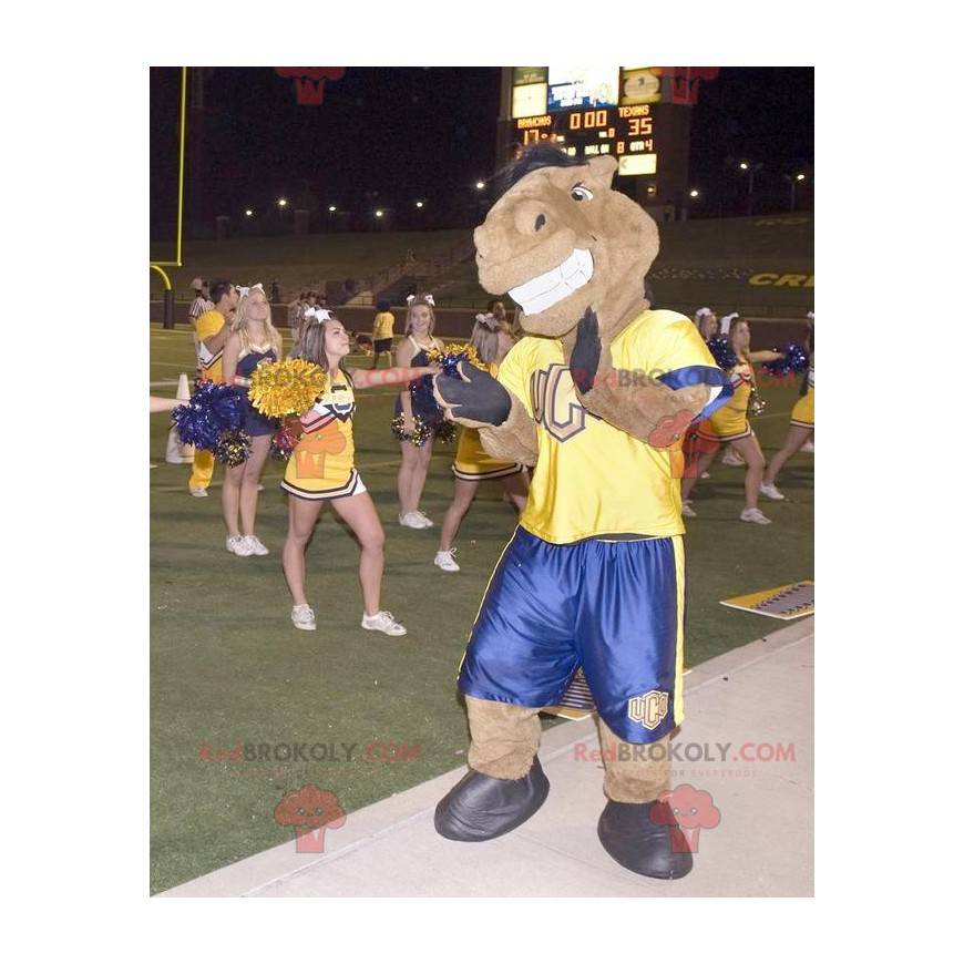 Brown horse mascot in yellow and blue outfit - Redbrokoly.com