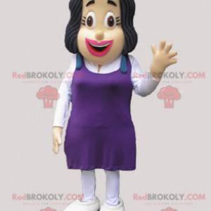 Maskot bruneta žena s fialovými šaty - Redbrokoly.com