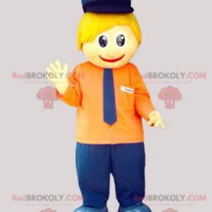 Maskott liten blond mann med kepi og slips - Redbrokoly.com