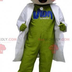 Zelený sněhulák maskot s bílou halenku - Redbrokoly.com