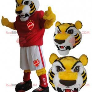Gelbes Tiger Maskottchen in Sportbekleidung - Redbrokoly.com