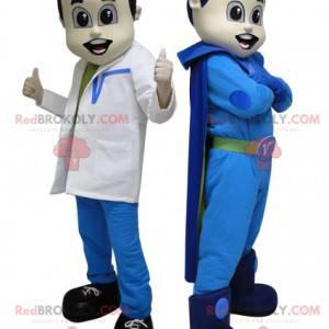 2 Maskottchen. Ein Superheld in Blau und ein futuristischer