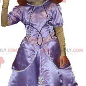 Zrzavý maskot žena oblečená jako princezna jako královna -