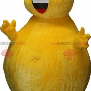 Gigantyczna żółta maskotka bałwana o okrągłych kształtach -