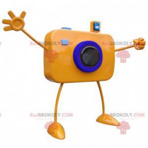 Orange giant camera mascot with big arms - Redbrokoly.com