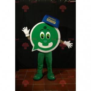 Maskot zelený sněhulák s tvarem bubliny chatu - Redbrokoly.com